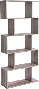 VASAGLE Wooden Bookcase, Display Shelf and Room Divider, Freestanding Decorative Storage Shelving, 5-Tier Bookshelf, Greige ULBC062M01