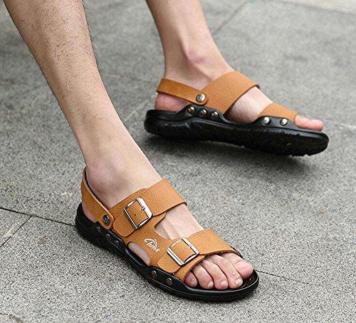 GLTER Hombre Open Sandalias 2017 Nuevo Verano Zapatos De Playa De Hebilla Respirable Zapatillas Zapatos Casuales Brown
