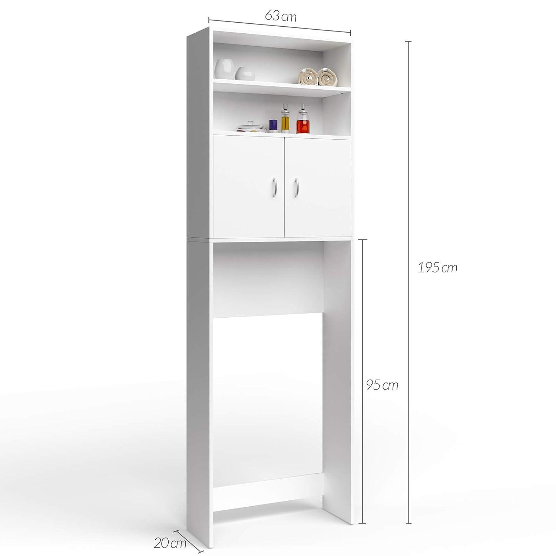 Deuba Armario alto lavadora mueble para baño Blanco 195x63x20cm ...