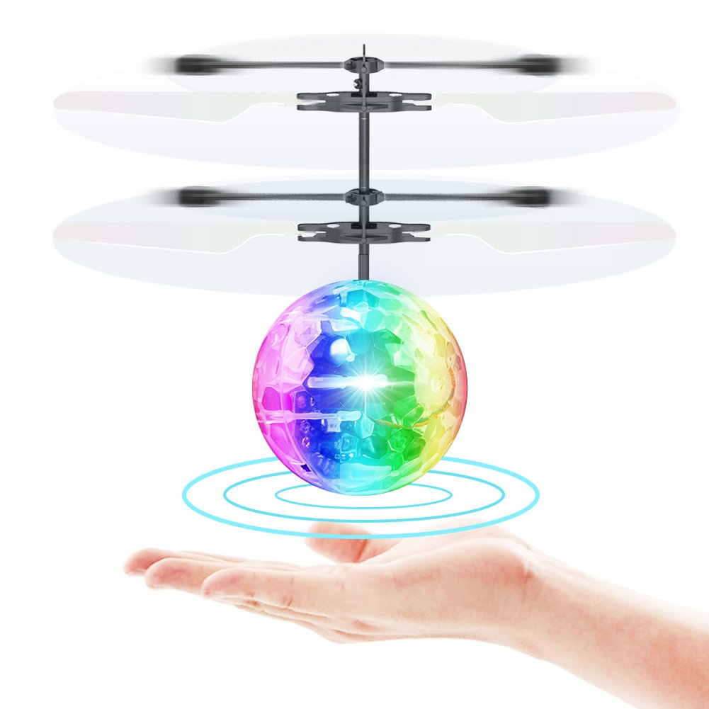 Toyk Flying Toy Ball Infrared Induction RC Flying Toy Built-in LED Light Disco Helicopter Shining Colorful Flying Drone Indoor and Outdoor Games Toys for 1 2 3 4 5 6 7 8 9 10 Year Old Boys and Girls