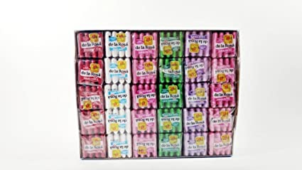 De La Rosa Fruit Flavored Chewing Gum 1 Box Of 60 Pieces Of 4 Gum Authentic Mexican Candy With Free Chocolate Kinder Bar Included