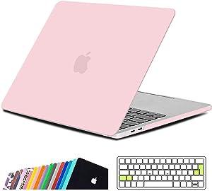 iNeseon Funda MacBook Pro 13 2019/2018/2017/2016, Protector Carcasa Case y Cubierta del Teclado EU para MacBook Pro 13 Pulgadas con/sin Touch Bar Modelo A2159/A1989/A1706/A1708, Cuarzo Rosa