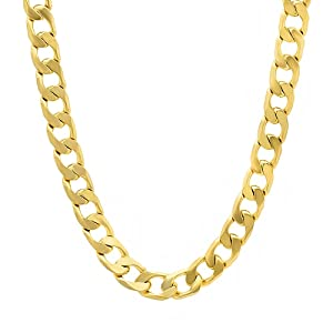 6mm 14k Gold Plated Cuban Link Curb Chain Necklace, 30