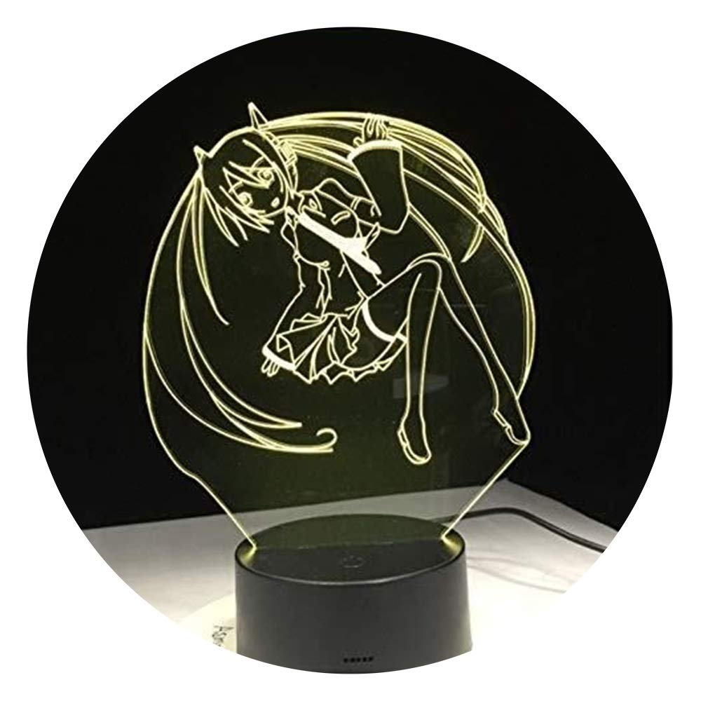 JINXUXIONGDI Visual Stereo Vision 3D Anime Cartoon Beauty Night Light LED7 Color Change Cool Lamp Girl Bedroom Decoration Gift Children's Decoration
