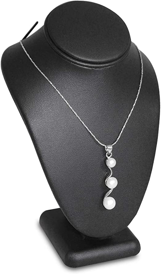 2  Black Necklace Pendant Jewelry Bust Display Easel Faux Leather