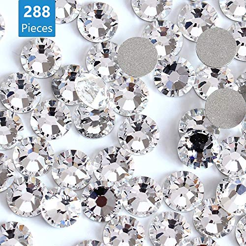 Onwon 288 Pieces SS34 / 7mm Clear Crystal Flat Back Brilliant Round Rhinestones Glass Stones Glitter Gems Transparent Faux Diamond, Non Self-Adhesive (Clear)