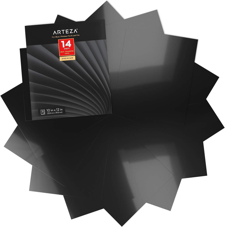 Arteza Vinilo textil termoadhesivo negro   25,4 x 30,5 cm   Caja de 14 hojas   Vinilo térmico resistente, fácil de pelar y sin tóxicos   Apto para cualquier máquina de corte   Vinilo negro para telas