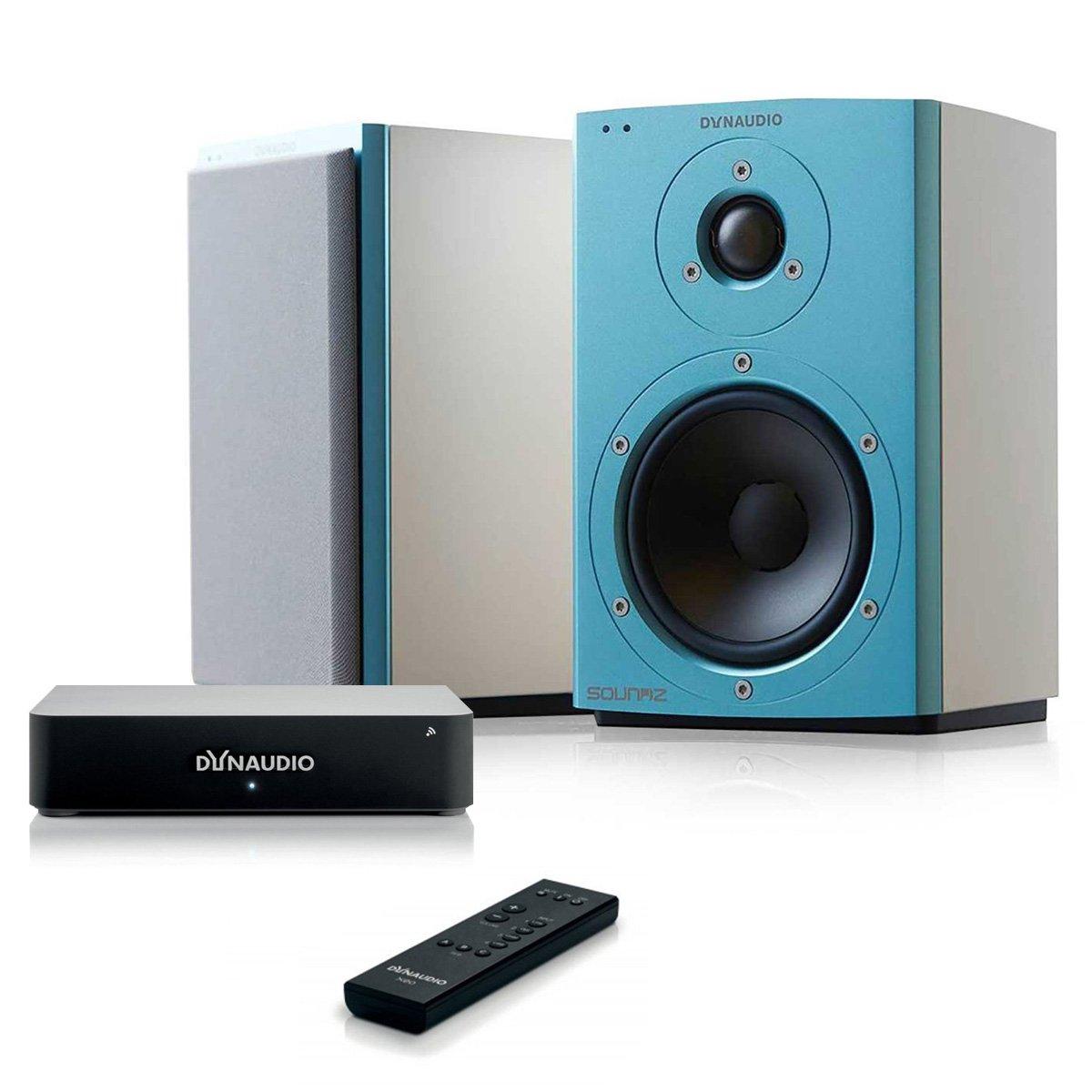 Dynaudio Xeo 2 Wireless Bookshelf Speakers (Blue/White) with Xeo Wireless Digital Hub and Master Remote