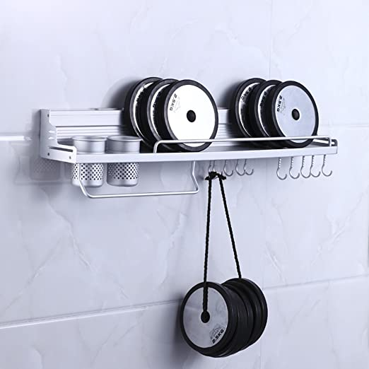 Amazon.com: MyLifeUNIT Aluminum Kitchen Wall Shelf, Wall Mount Kitchen Utensil Hanging Rack Organizer with 2 Cups: Kitchen & Dining