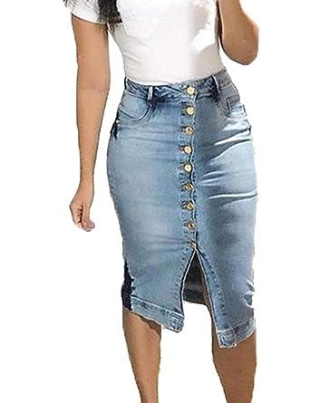 Naliha Faldas de Jean para Mujer, Cintura Alta, elásticas, con ...