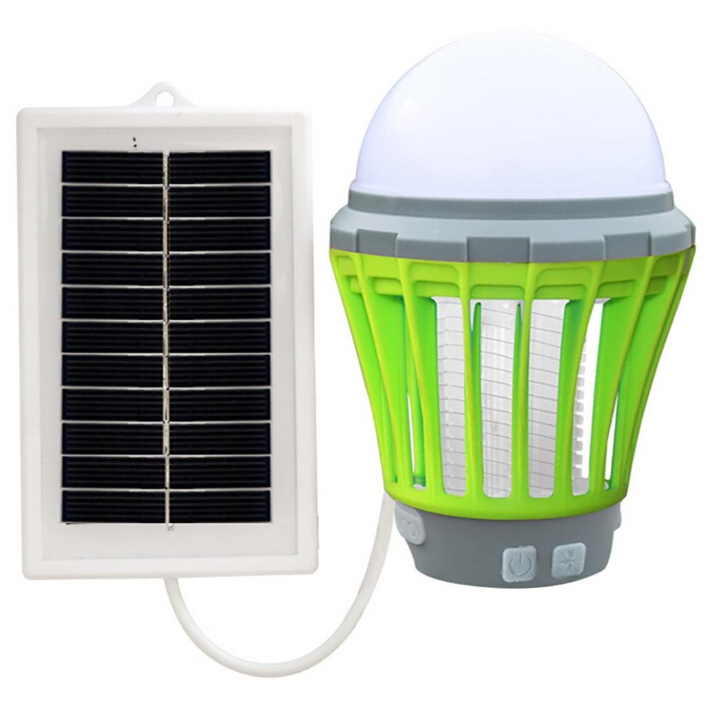 Cinhent Mosquito Killer, 5W Solar LED Electric USB Fly Insect Bug Trap Zapper Night Lamp, Indoor – UV Light, Flying Pest Control– No Zapper – Child-Safe, Non-Toxic, Easy Clean (Green)