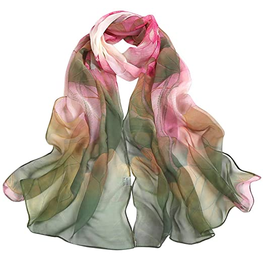 60c01f5d6bd iYBUIA Chiffon Fashion Women Lotus Printing Long Soft Wrap Scarf Ladies  Shawl Scarves
