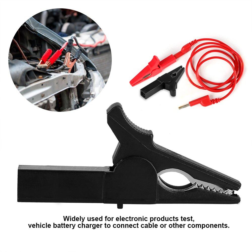Pince Crocodile Clips de Batterie avec Poignee en Plastique Assortiment de Pinces /Électriques pour Test de Produits /Électroniques. noir