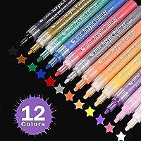 Acrylic Paint Marker Pens, Beupro 12 Colors Permanent Paint Art Marker Pen Set for Glass Painting, Fabric Painting, Rock Painting, Ceramic, Wood, Garden, Canvas, Paper, Metal, Photo Album, DIY Crafts