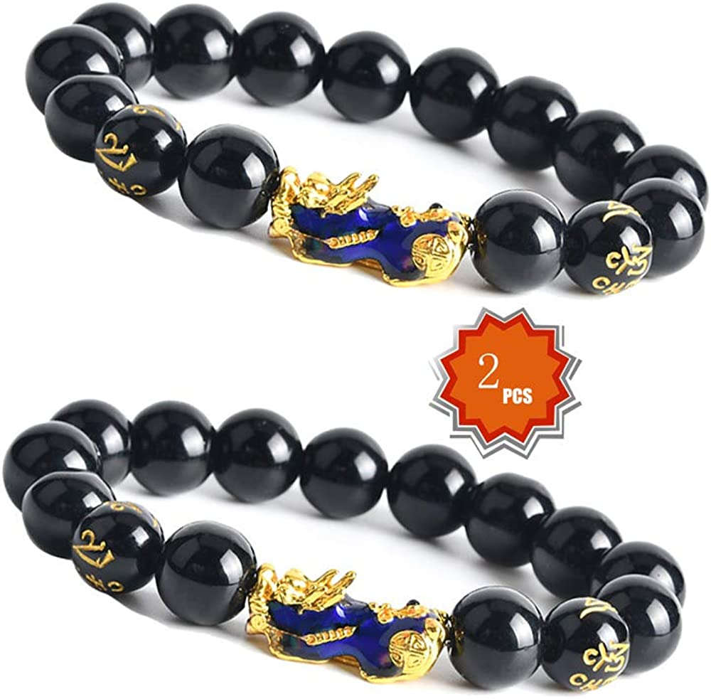 KESOCORAY 12mm Feng Shui Variable Color Temperature Fortune Bead PiXiu PiYao Black Obsidian Wealth Bracelet for Good Luck