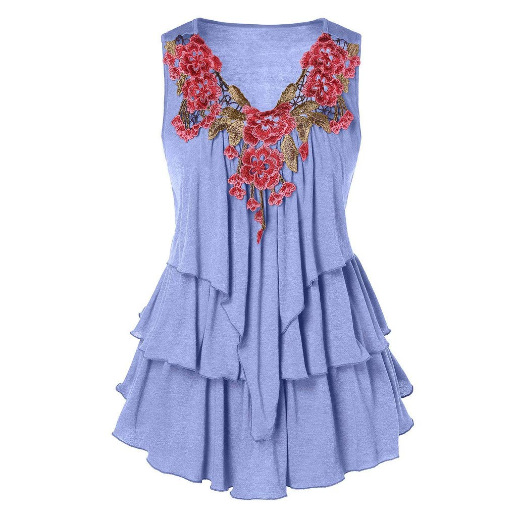 One promise Womens Puff Layered Tank Tops Fashion Embroider Sleeveless Casual Shirts Blouse