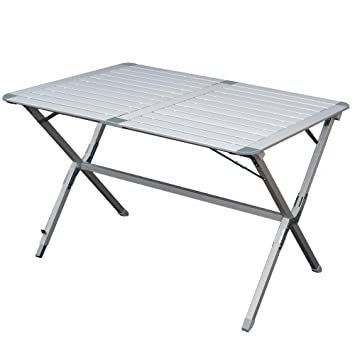 Gartentisch klappbar alu  Aluminium Campingtisch mit Lamellen Tischplatte. Ein Rolltisch für ...