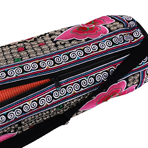 d48ca8615d79 Amazon.com   ARTIIDCO Decorative Handmade Embroidered Multicolor Thai Yoga  Mat Bag with floral and animal design