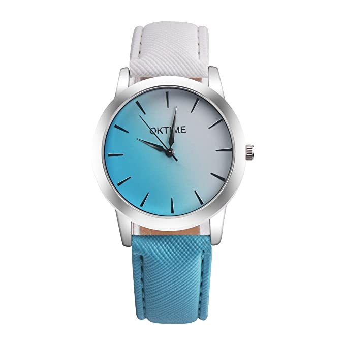 DressLksnf Reloj Lujo Moda de Mujer Pulsera Deportiva Acero Inoxidable Durable Correa de Cuero Digital Clásico Banda de Reloj Cadena Superficie Gradiente ...
