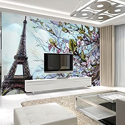 LHDLily 3D Wallpaper Mural Wall Sticker Thickening Paris Eiffel