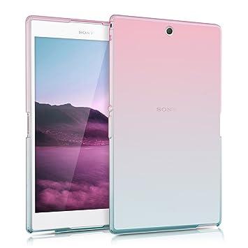 kwmobile Funda para Sony Xperia Tablet Z3 Compact - Carcasa [Trasera] para Tablet de [Silicona TPU] - Cover en [Rosa Fucsia/Azul/Transparente]