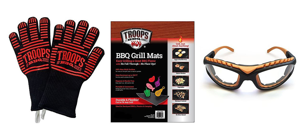 Deluxe 4-Piece BBQ Grilling Kit with Kevlar Silicone Insulated Extreme Heat Grilling Gloves, Plus 2-Pack Non-Stick Grill Mats, Plus Orange Grilling Goggles