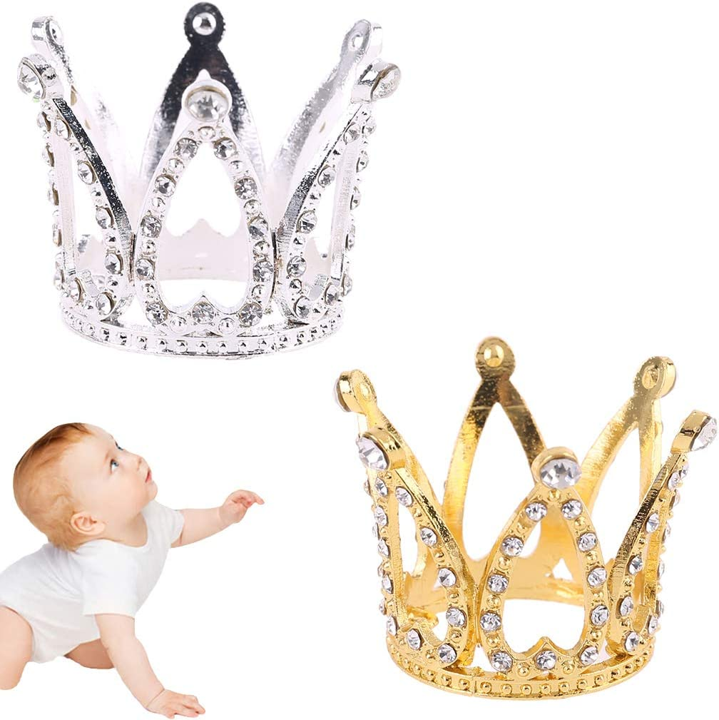 Ncbvixsw New Baby Crown Photo Photography Props Headband Ring Mini Decoration Newborn Girls Princess Gold Silver Luxury Fashion Memorial Birthday Party Tiara Headdress