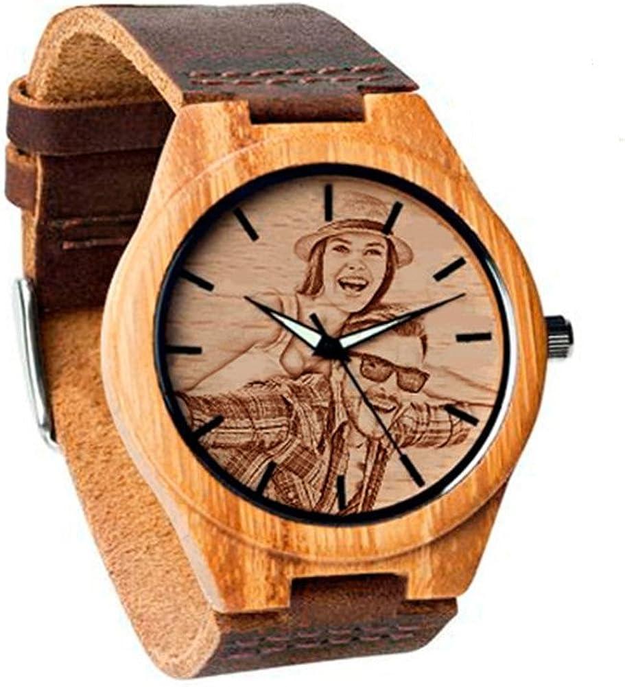 Reloj de Madera Personalizado del Grabado del Mensaje del Reloj de la Foto para el Regalo