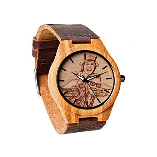 Relojes Personalizados con Foto Relojes de Pulsera del Presente del día del Padre Agregue Cualquier Foto y Grabe Cualquier Texto: Amazon.es: Relojes