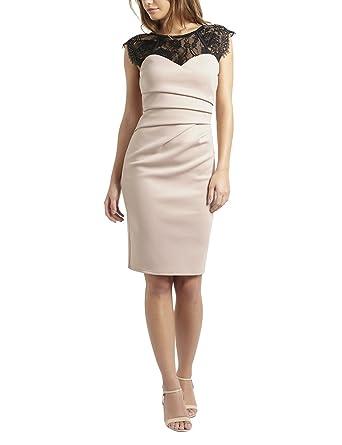 LIPSY Womens Eyelash Bodycon Dress Regular Fit Cream 4