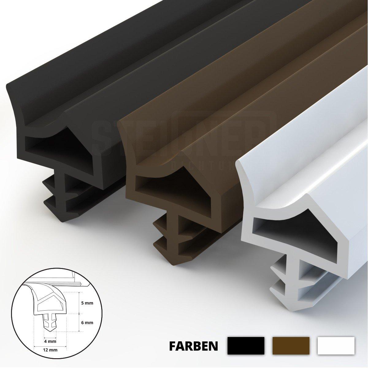 STEIGNER Burlete para Puerta y Ventana STD06 10m 12mm Marr/ón Junta de goma Perfil de estanqueidad para ventanas y puertas de PVC Aluminio Madera