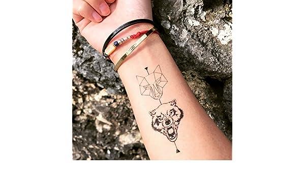 Tatuaje Temporal de Lobo geométrico (2 Piezas) - www.ohmytat.com ...