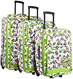 Ever Moda Peace Sign 3 Piece Luggage Set (Green)