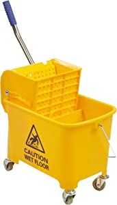 Mind Reader Commercial Mop Bucket - with Down Press Wringer - 22 Quart Capacity - Yellow - MOPT20-YLW