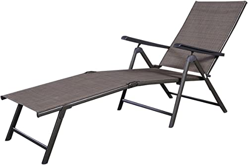 Giantex Chaise Lounge Chair Adjustable 5 Reclining Positions Folding Recliner Outdoor