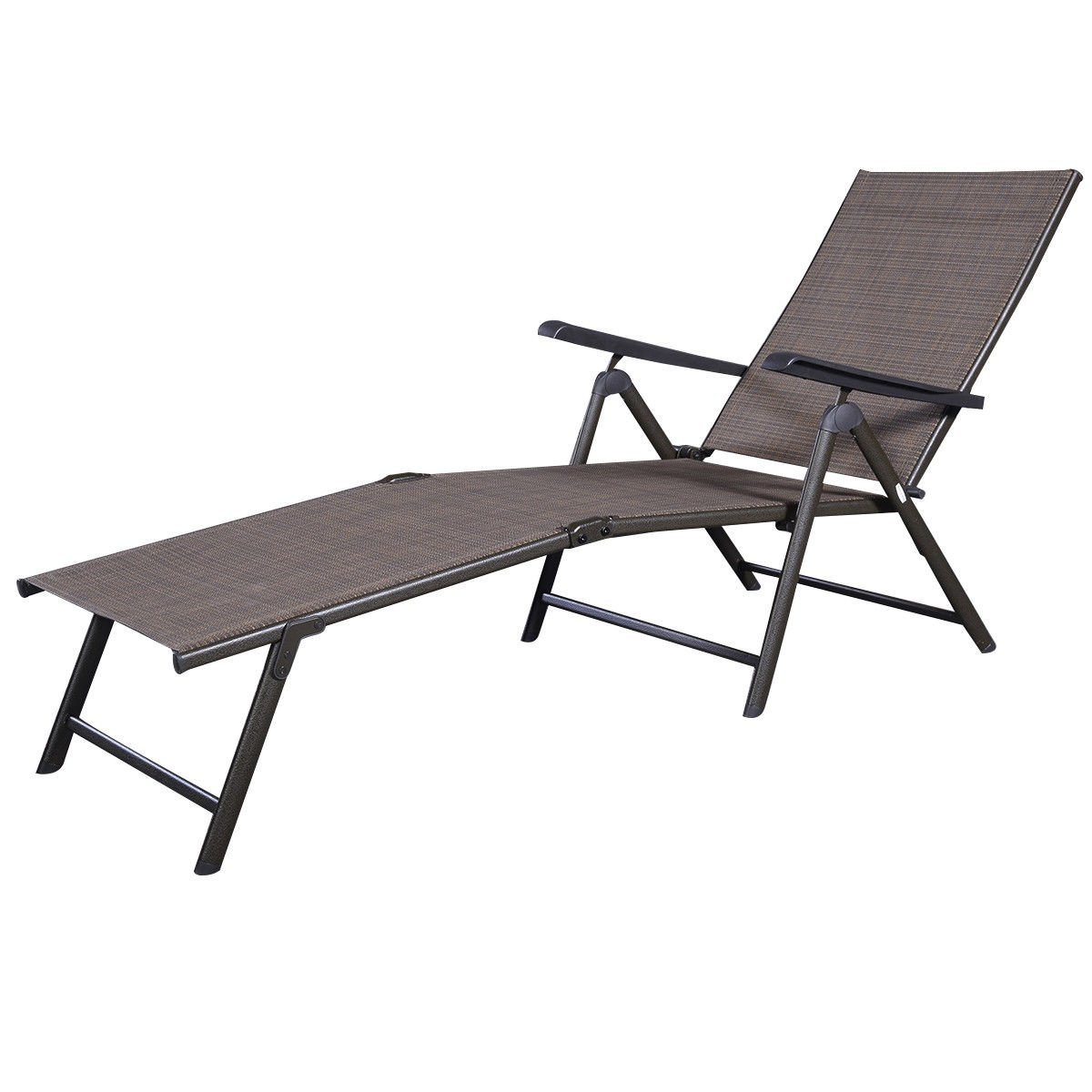 GHP Outdoor Patio Furniture Textilene Adjustable Pool Chaise Lounge Chair