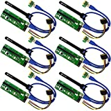 (US) MintCell 6-Pack PCIe VER 006 PCI-E 16x to 1x Powered Riser Adapter Card w/ 60cm USB 3.0 Extension Cable & MOLEX to SATA GPU Riser Adapter - Ethereum Mining ETH + 6 Cable Ties