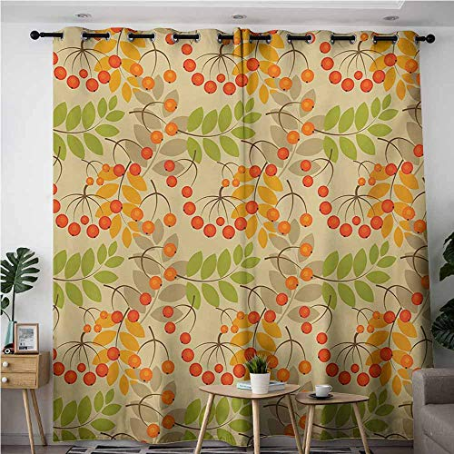 AndyTours Home Curtains,Rowan,Vivid Colorful Graphic Pattern of Rural Foliage Fruits in Autumn Season Warm Colors,Great for Living Rooms & Bedrooms,W72x108L,Multicolor