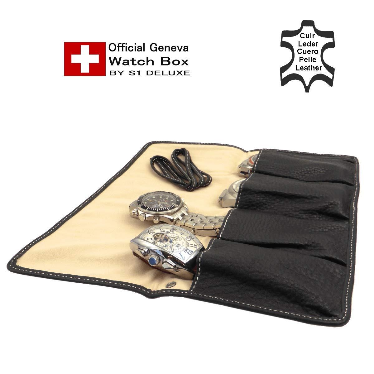 Official Luxowa Schwarzen Top Uhrenrolle Geneva In LederZur Soften 54jRLc3Aq