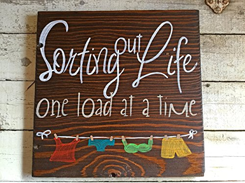 Funny Humor Hand Painted Wood Wall Laundry Room Sign Quote Saying, Sorting Out Life One Load At a - Stores Time Shopping Square