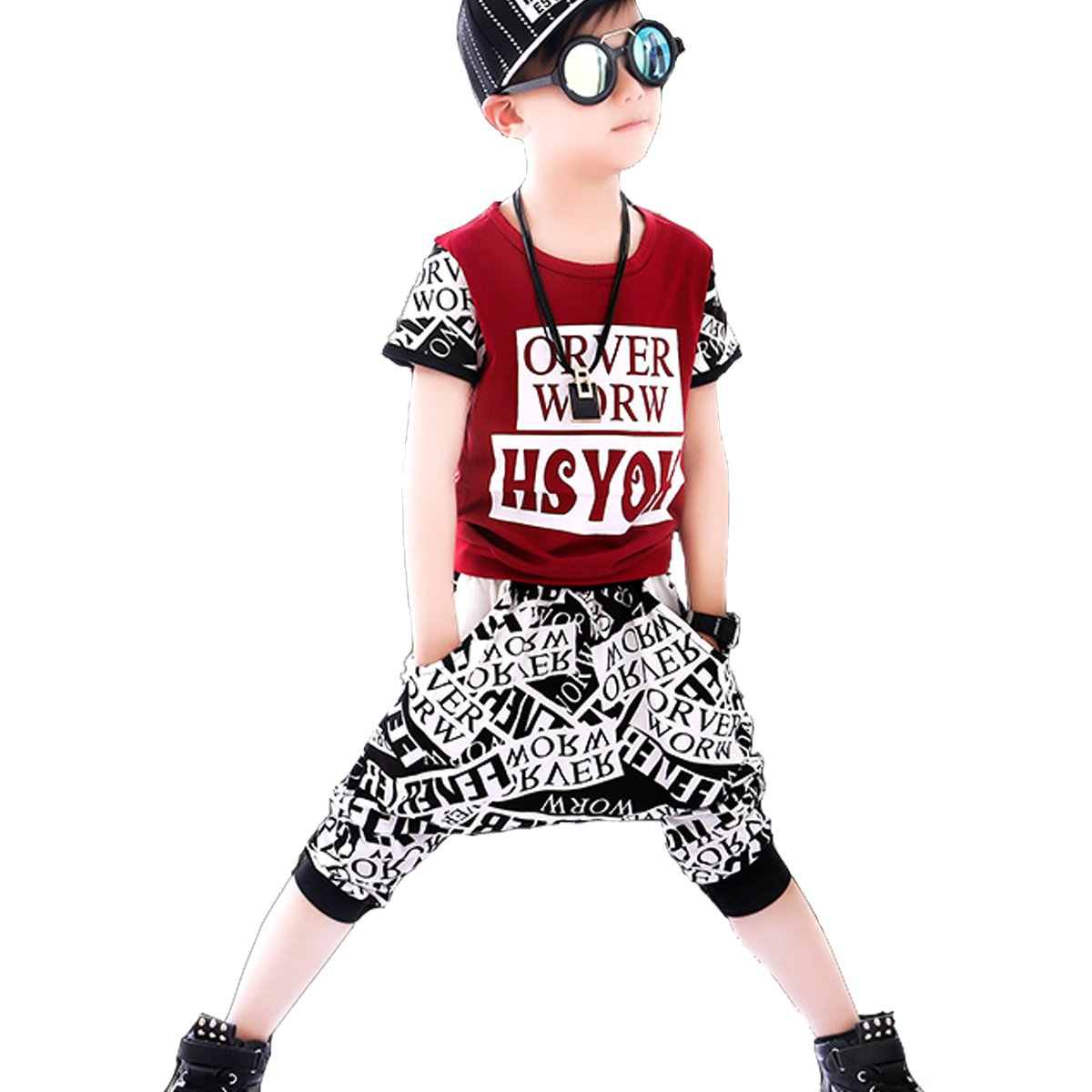 NABER Kids Boys' Summer Fashion T-Shirt & Hip Pop Shorts Clothing Set Age 3-11 Years