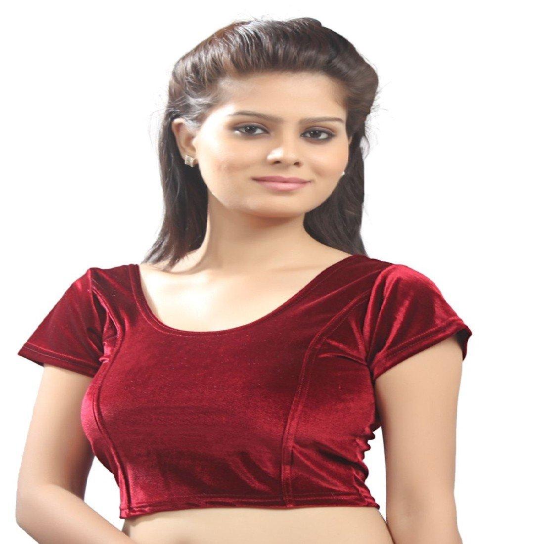 fdcb40f1c7b822 Biyu Maroon Cap Sleeve U-Neck Cotton Lycra Velvet stretchable Readymade  saree Blouse(RR045)  Amazon.in  Clothing   Accessories