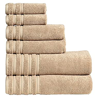 650 GSM Luxury Bathroom 6-Piece Towel Set, Made of 100% Premium Long-Staple Combed Cotton, 2 Hotel & Spa Quality Washcloths, 2 Hand Towels, and 2 Bath Towels, Soft & Absorbent, BRENTWOOD, LATTE