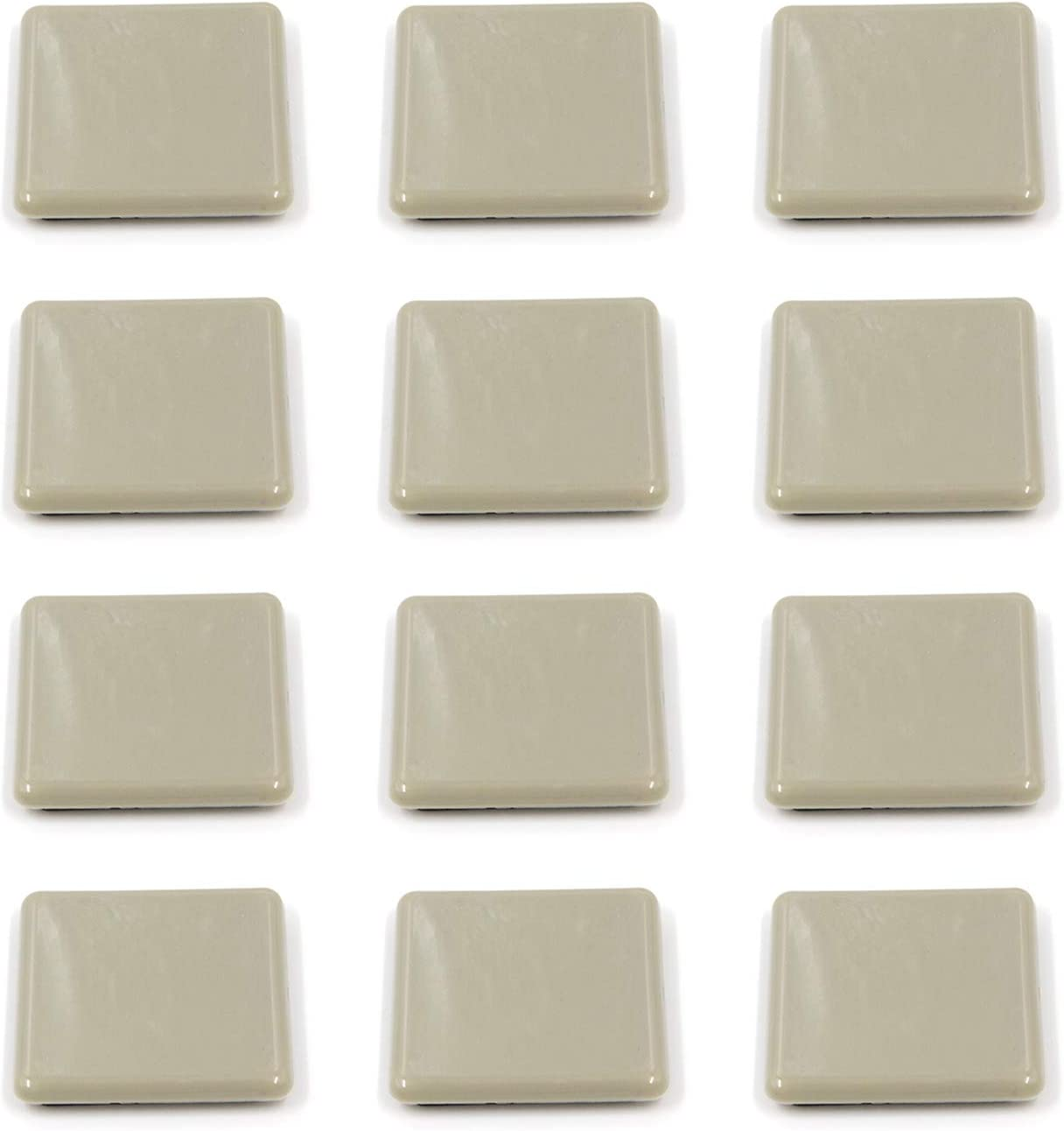 Tulead Furniture Moving Sliders Square Chair Sliders 2.52-Inch Diameter Furniture Moving Pads Shockproof Sofa Mover Pads Pack of 12