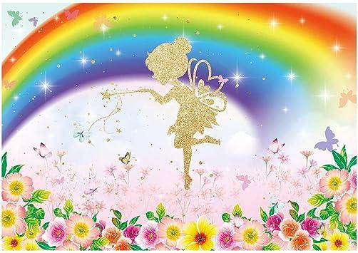 YEELE Happy Birthday Backdrop 7x5ft Cartoon Rainbow Sky Scenery Photography Background Little Princess Party Decoration Girls Daughter Artistic Portrait Photobooth Props Digital Wallpaper