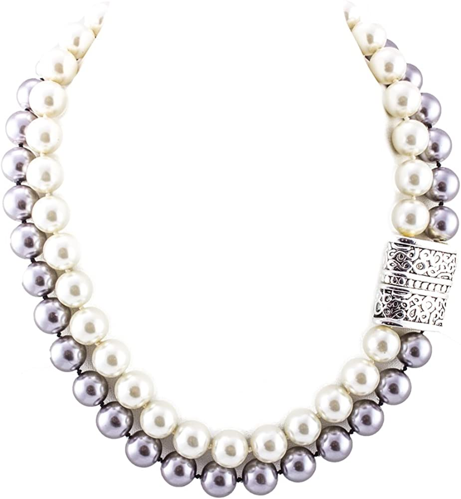 LoveinDIY Women Long Multi Layer String Faux Pearls Beads Strand Necklace White Beaded