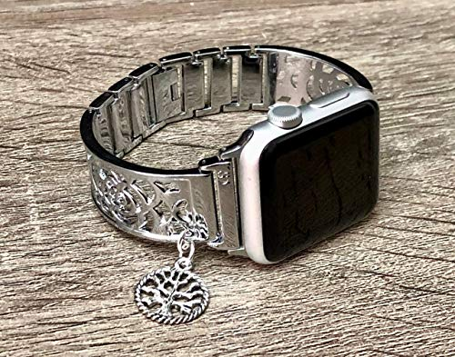 Shiny Silver Metal Bracelet For Apple Watch All Series 38mm 40mm 42mm 44mm Handmade Flowers Design Jewelry Apple iWatch Band Vintage Tree Of Life Charm Adjustable Size Apple Watch ()