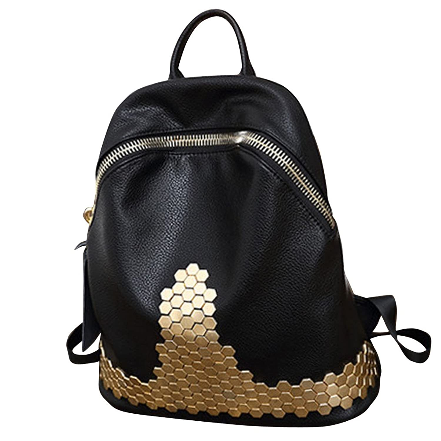 YipGrace Simple Fashion Rivet Zipper Backpacks Korean Version of Casual Shoulder Bag for Girls