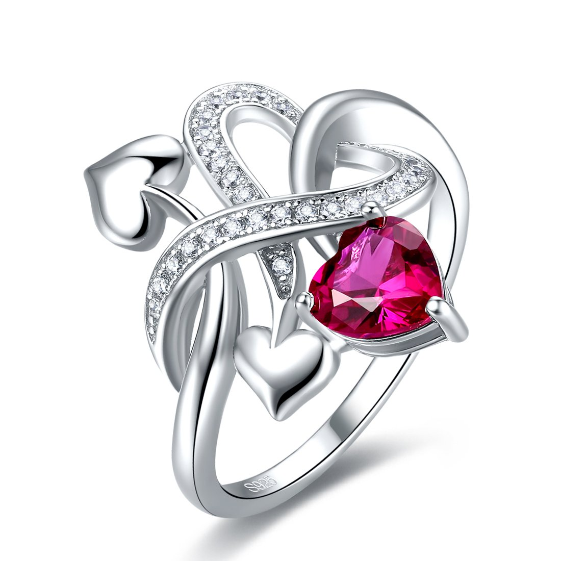 Merthus Womens 925 Sterling Silver Created Ruby Heart Love Knot Ring