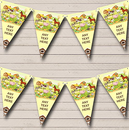 Farmyard Farm Animals Barn Yellow Personalized Childrens Party Bunting Flags Banner
